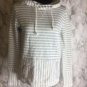 J. Crew Size XS Gray & White Striped Hoodie